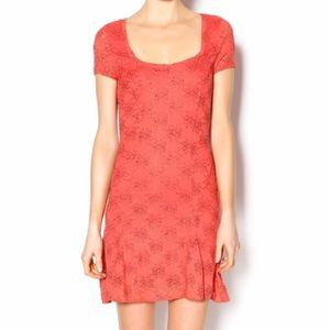 Free People Coral Lace Daisy Godet Dress Medium
